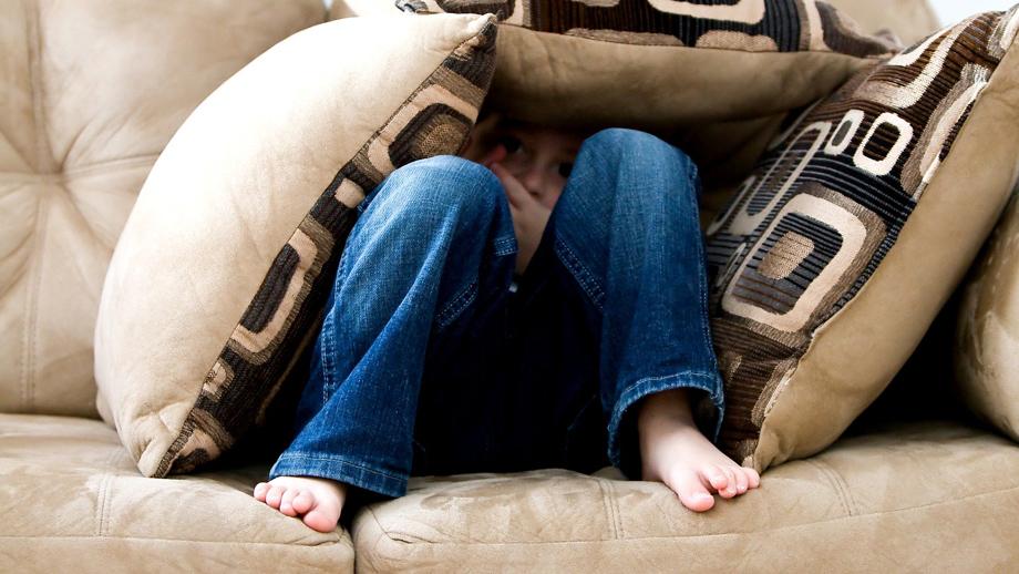 Boy hiding under cushions